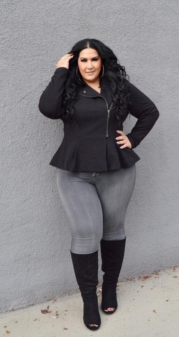Black peplum moto jacket, grey jeans, black boots. Love the little painted toenails peeking out!