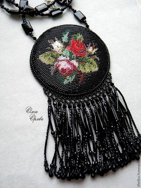 Купить Чёрный медальон - чёрный, кулон с цветами, винтажный стиль, кулон с бахромой, агат черный