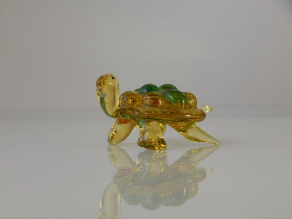 Figurine turtle Tortoise Glass figurine by WoodenPipeAndVintage