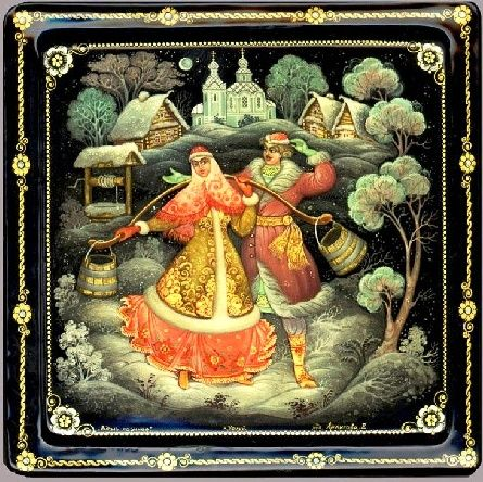 Russian lacquer miniature from the village of Kholuy. A boy and a girl in Russian national costumes are in a winter village. The girl is carrying wooden buckets of water with a yoke.