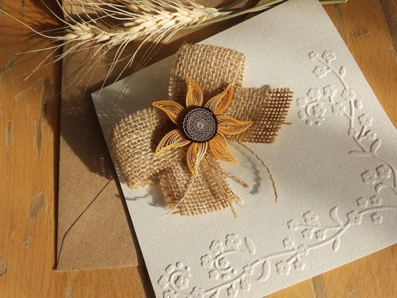 Handmade sunflower wedding invitation/Burlap wedding invitation/Country invite/Burlap bow invite/Unique burlap invitation/Rustic invitation