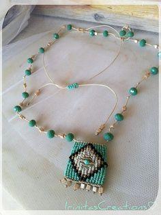 Macrame beaded necklace/Boho long by IrinitasCreations on Etsy