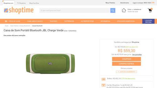 [Shoptime] Caixa de Som Portátil Bluetooth JBL Charge Verde - de R$ 571,36 por R$ 492,18 (13% de desconto)
