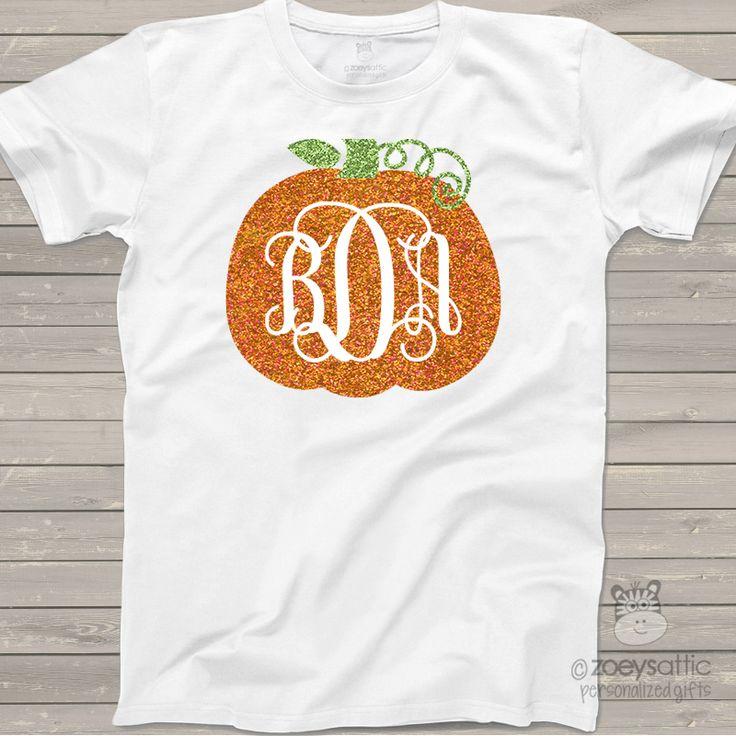 monogram glitter shirt, sparkly pumpkin vine, custom tshirt