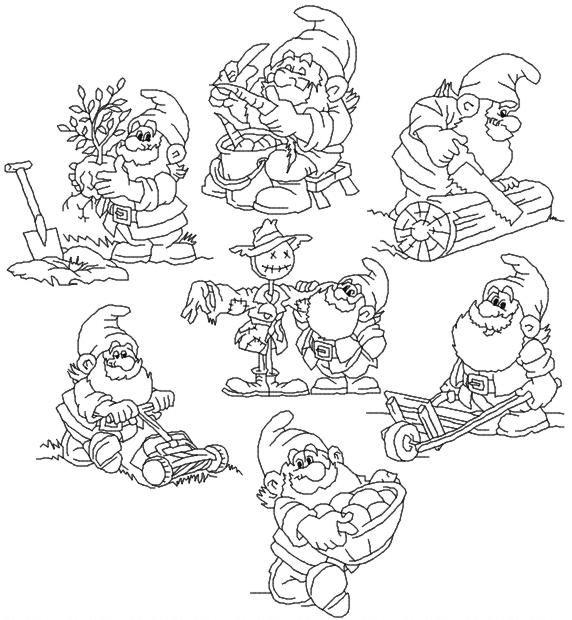 Advanced Embroidery Designs - Industrious Dwarves Redwork Set