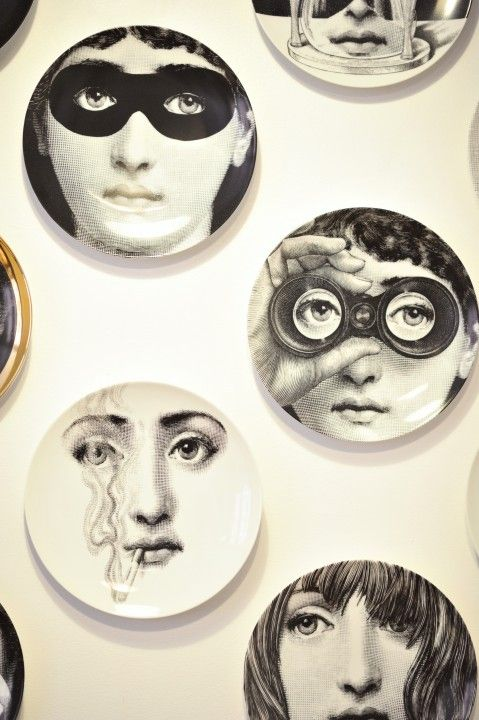 Fornasetti Plates for Dining Room wall - so quirky and pure design recognition
