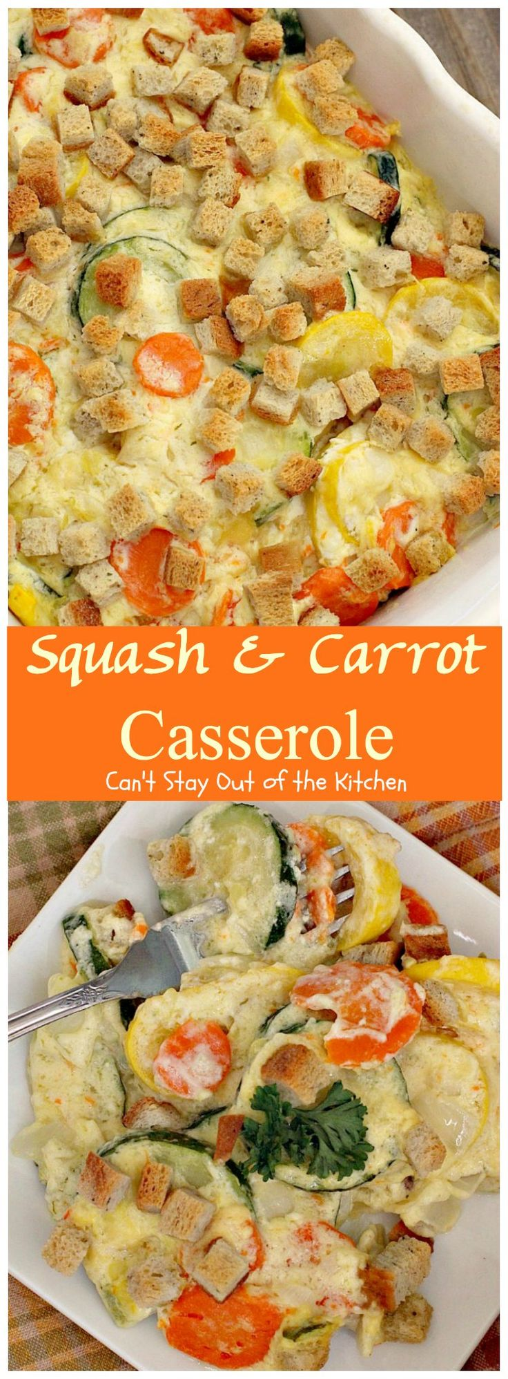 Squash and Carrot Casserole | Can't Stay Out of the Kitchen | this fantastic #squash #casserole is great for the #holidays & always a family favorite. So easy to assemble, too. #carrots #PepperidgeFarmstuffing