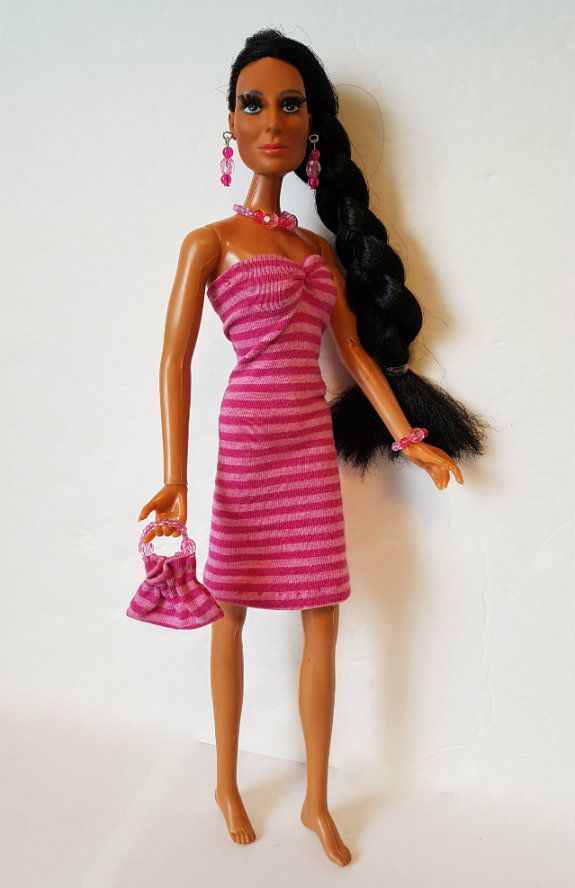 Vintage Mego CHER DOLL CLOTHES pink Dress Purse & Jewelry HM Fashion NO DOLL d4e #DOLLS4EMMA #ClothingAccessories