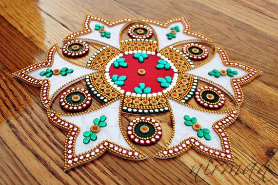 White Green Red Kundan rangoli Bollywood inspired by Nirman
