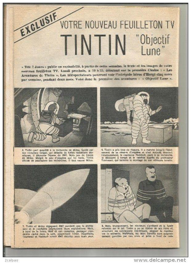 revue peu courante tele 7 jours n° 335 - tintin - objectif lune - feuilleton tv - hergé - 1966 - 88 pages - 28 / 20 cm -