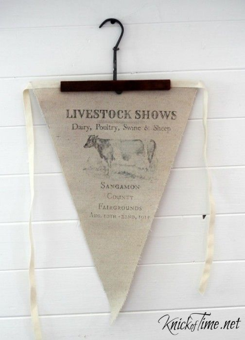 DIY Drop Cloth Pennant! via Knick of Time @ KnickofTime.net