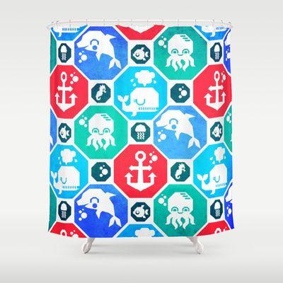 Marine Animals Geometric Pattern Shower Curtain by chobopop - $68.00