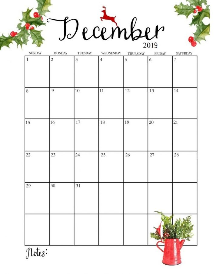 Cute 2019 Monthly Calendar | Printable december calendar ...