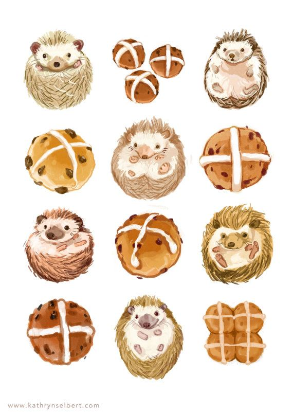 Fine Art Print  Hedgehogs and Hot Cross Buns by kathrynselbert, $22.00