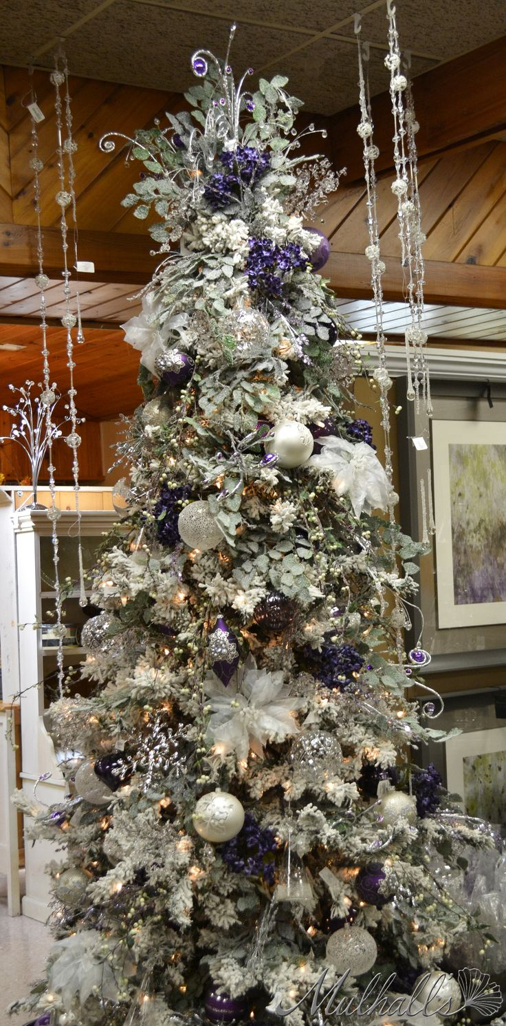 Blue and brown christmas tree decorations - Frosted Purple White Christmas Tree Pinned By Ton Van Der Veer