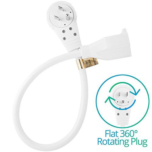 Maximm Cable 3 Feet 360° Rotating Flat Plug Extension Cord / Wire, 3 Prong Grounded Wire 16 Awg Power Cord - White #Maximm #Cable #Feet #Rotating #Flat #Plug #Extension #Cord #Wire, #Prong #Grounded #Wire #Power #White