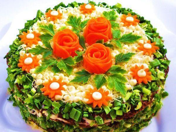 Печеночный торт Цветочная поляна