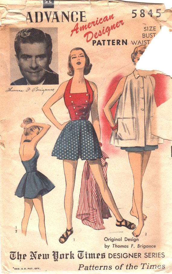 Advance 5845 1950s Misses Playsuit Shorts Halter and Beach Coat Pattern THOMAS BRIGANCE  Womens Vintage  Sewing Pattern Size 14 Bust 32