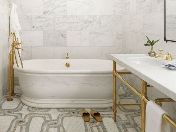 gold and marble bath