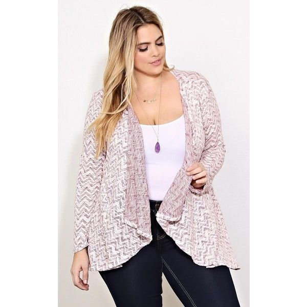 Plus Chevron Print Sweater Wrap ($16) ❤ liked on Polyvore featuring plus size women's fashion, plus size clothing, plus size tops, plus size sweaters, plus size, wine combo, long sleeve wrap sweater, plus size wrap top, wine sweater and plus size long sleeve tops