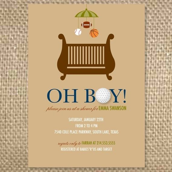 best sports theme baby shower images on   boy baby, Baby shower invitation