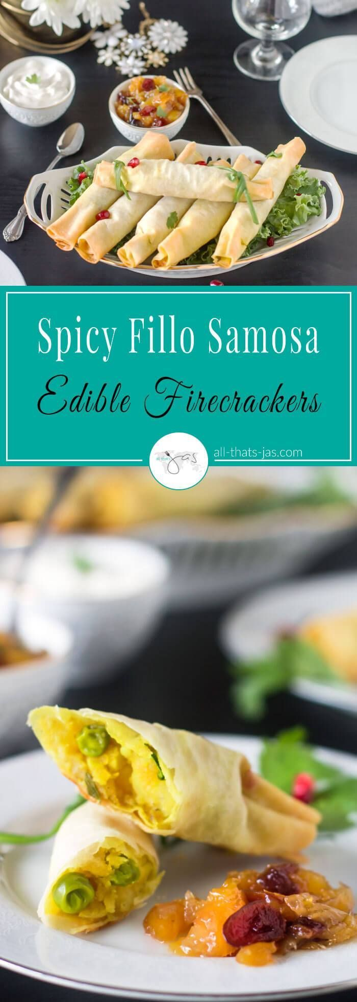 Perfect appetizer for New Year, Fourth of July or any celebration, these spicy fillo samosa edible firecrackers are made with potatoes, peas, Indian spices, and pastry. #Indianfood #fillo #phyllo #filo #pastry #samosa #spicy #vegan #vegetarian #appetizer #NewYear #FourthofJuly #Independenceday