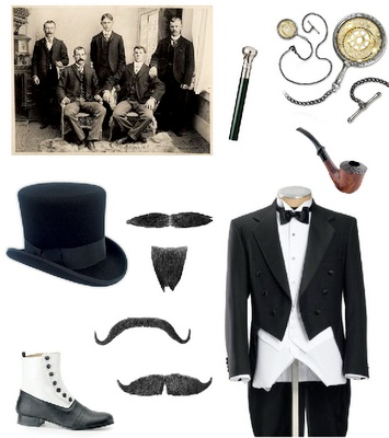 Top hat and monacle style.