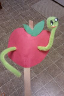 apple and worm craft - I would love to do crafts that all use the same materials so there isn't too much to purchase