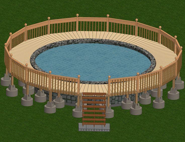 Decks around Pools   Ways to Build a Deck Around an Above Ground Pool - wikiHow