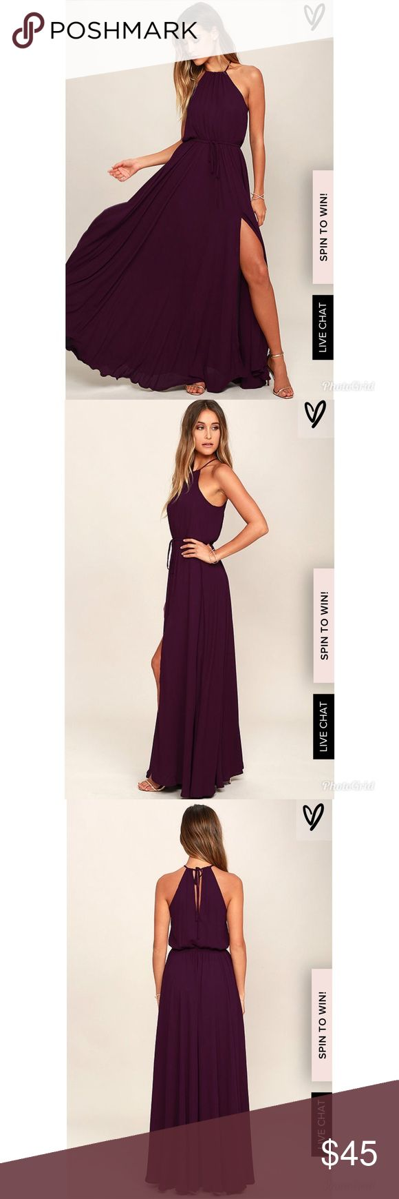 Plum Purple Maxi Dress See through material. Beachy vibes! Has a slit down the knee area. Only worn Once. Lulu's Dresses Maxi