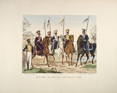 Infantry and uhlan - page 5 of a Polish illustrated album commemorating the November Uprising in 1831, published by Karol Kozlowski, printed by Czcionkami Drukarni Dziennika Poznan Boskiego, c.1887 Wall Art & Canvas Prints by Juliusz Fortunat Kossak
