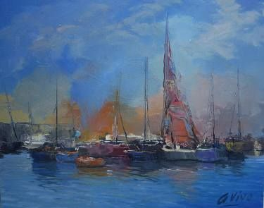 "Saatchi Art Artist Andres Vivo; Painting, ""Calais port,France  Nº 3984"" #art"