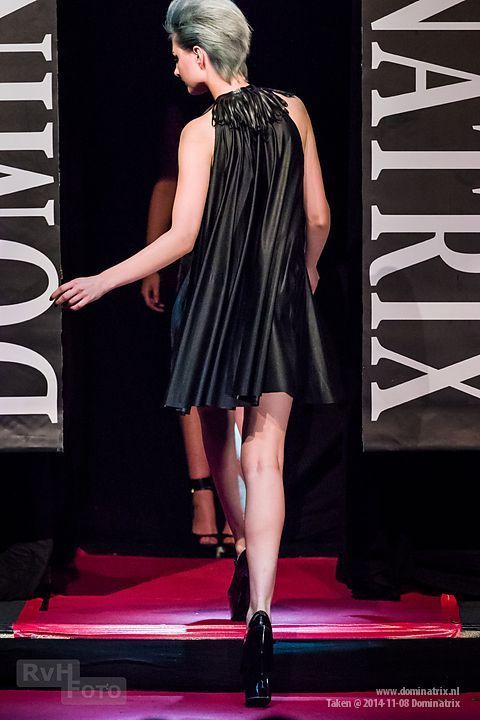 Trapeze dress (back) at the Dominatrix show.