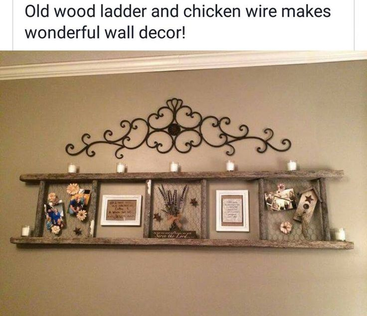 Old wooden ladder and chicken wire makes wonderful wall decor