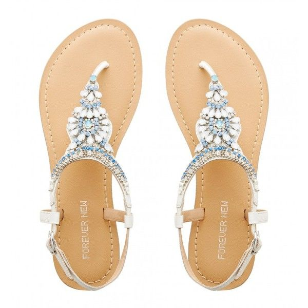 Salvador Jewelled Sandals ($61) ❤ liked on Polyvore featuring shoes, sandals, jewel shoes, jeweled sandals, white shoes, white sandals and jeweled shoes