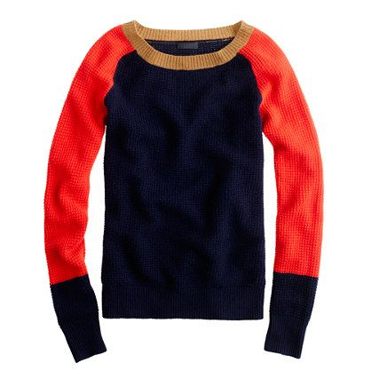 J. CREW COLLECTION CASHMERE WAFFLE COLORBLOCK SWEATER    $268.00: Jcrew Collection, Waffles Colorblock, Women Sweaters, Color Blocks, Collection Cashmere, Cashmere Sweaters, Cashmere Waffles, Knits Sweaters, Colorblock Sweaters