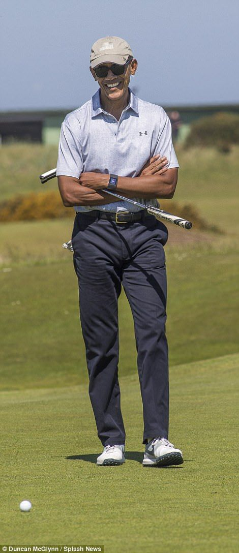 Obama tees off at St Andrews ahead of charity speech | Daily Mail Online
