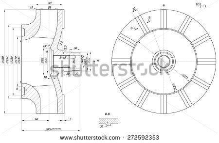 Expanded wheel sketch with span, lines, angle degrees and numbers. Vector image