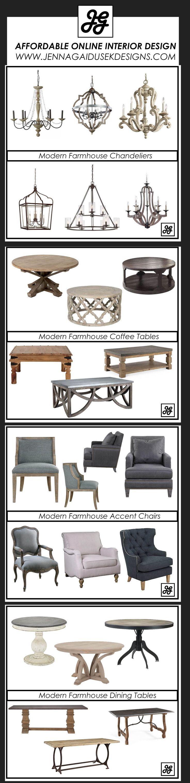 Modern Farmhouse Fresh pieces. Rustic chandelier, farmhouse dining table, farmhouse coffee table, farmhouse chairs. Online interior design. Decorating help, e-design www.jennagaidusekdesigns.com