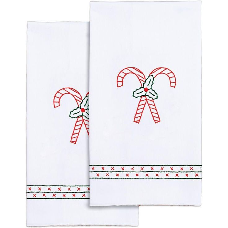 "Stamped White Decorative Hand Towel Pair 17""X28""-Candy Canes"