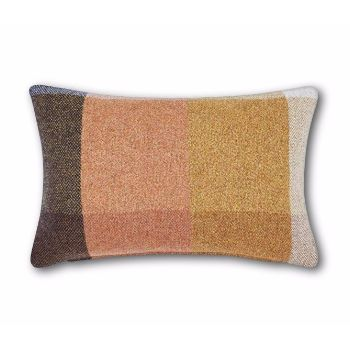 Check Cushion: Born from the process of weave manufacture, Check's pattern is a result of its making process. Inspired by the checkerboards of fabric samplers, by catalogues of woven threads, this throw and cushion offers a familiar texture – that of British summer days and picnics in the park. Each cushion comes with a branded copper-plated pull zipper with a blue zipper tape.