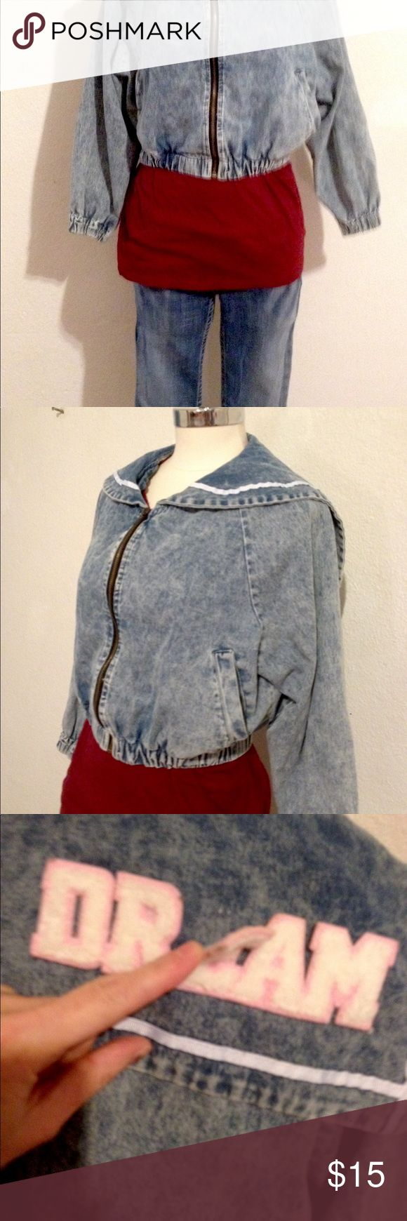Woman's Size Small Asian Jacket Light weight, synced, short waisted jeans jacket, with a 1950s style, square back on the jacket that reads Day Dream. A couple of the letters need a drop of fabric glue, so I've priced it accordingly. Size small. Jackets & Coats