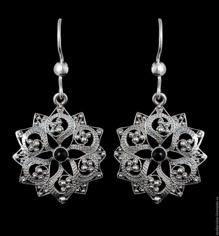 Купить Серьги в серебряной филиграни (модель СФ110) - серебряный, филигрань, филигрань серебро, филигранные серьги