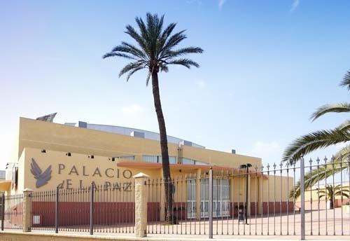 El Palacio de la Paz de Fuengirola es un edificio multiusos que permite la celebración de todo tipo de eventos, desde espectáculos musicales y teatrales hasta congresos, encuentros sectoriales o ferias de muestras. (Málaga, Andalucía, Andalusia, España, Spain)