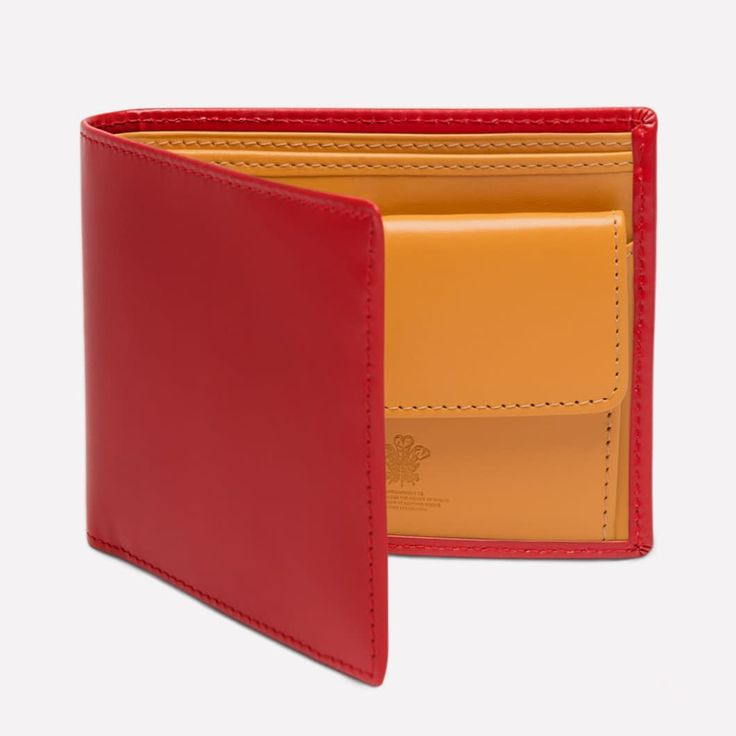 Ettinger London - Luxury Leather Goods - Bridle Hide Billfold Wallet with 3 C/C and Coin Purse in Red