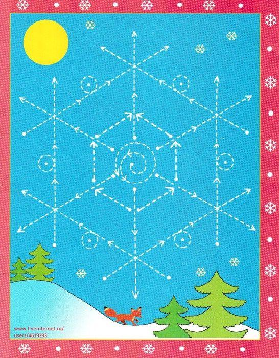 Schrijfpatroon voor kleuters, thema winter