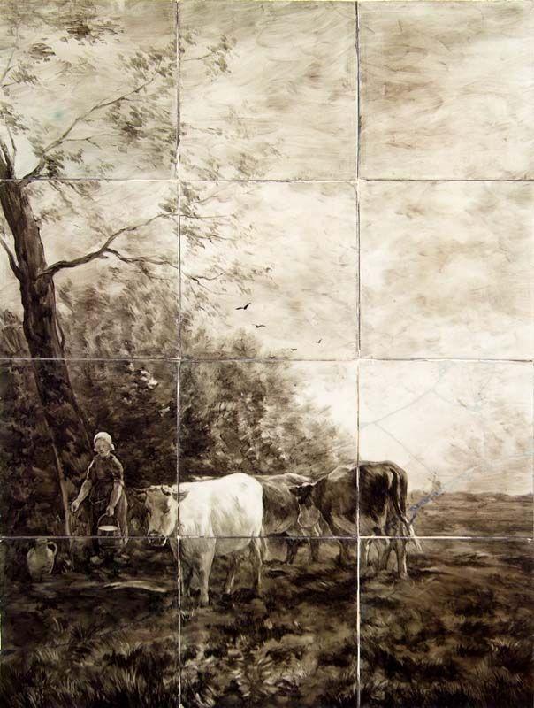 tableau van 12 keramische tegels naar een schilderij van Willem Maris, door de Plateelbakkerij Delft in Hilversum, 1909