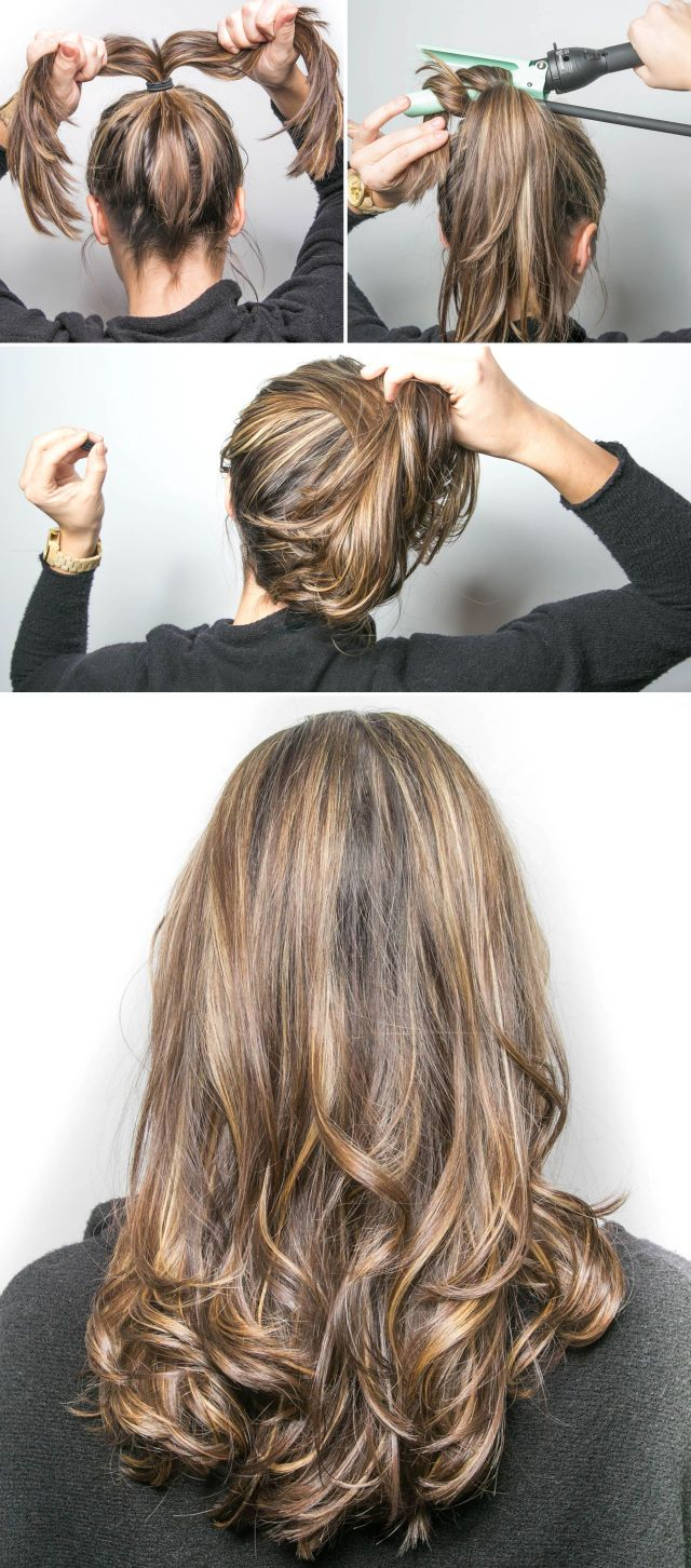 Beauty Hacks - Best Makeup Tips - Wrap the ends of your ponytail around a curling wand to easily curl your hair in less than two minutes. Put your hair in a loose ponytail on top of your head and split the tail in half. Wrap each section around the wand and then remove the hair tie to reveal your curls.