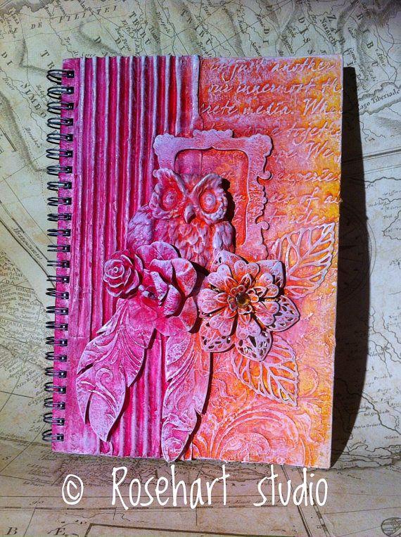 Journal, junk journal, art journal, mixed media journal, altered book, notebook, powertex, powertex journal, handmade journal, Owl journal, anna emelia howlett, rosehart studio