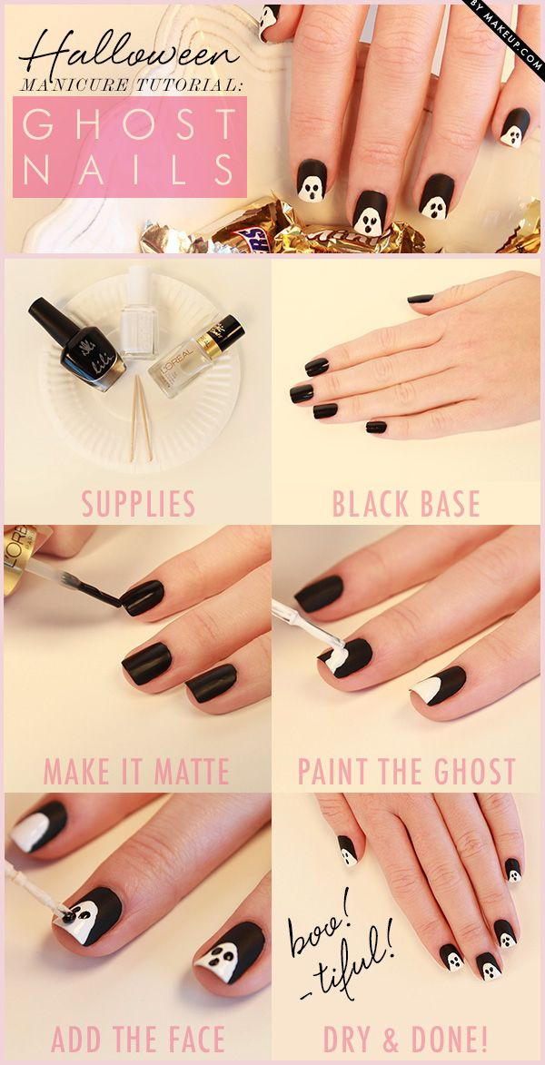 Halloween ghost nail art // love this manicure!